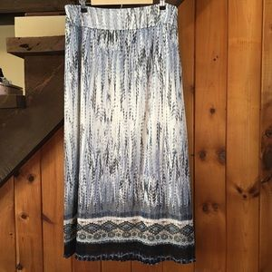 Chico's Blue Feathered Tribal Print Maxi Skirt